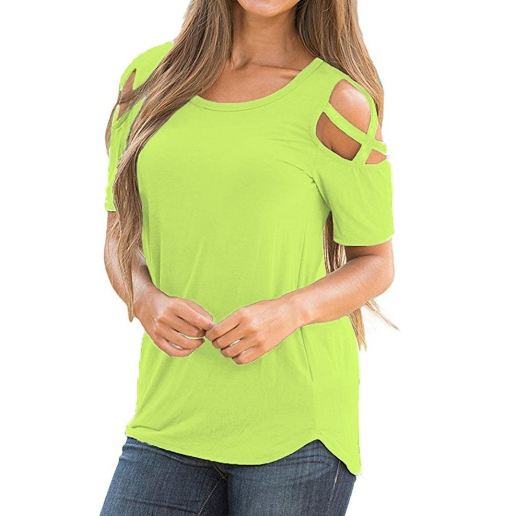 Womens T-Shirts SHOBDW Women Summer Blouses Fashion Strappy Cold Shoulder O-Neck Short Sleeve T-Shirt Tops