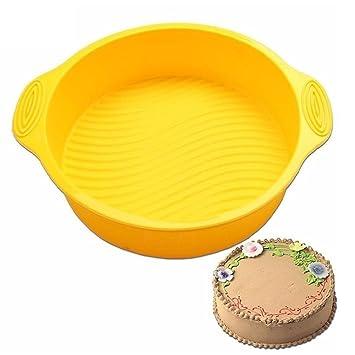 botrong color al azar 9 Inch DLY redonda para tarta Herramientas de silicona pastel molde para horno con forma de pan - Molde para hacer: Amazon.es: Jardín