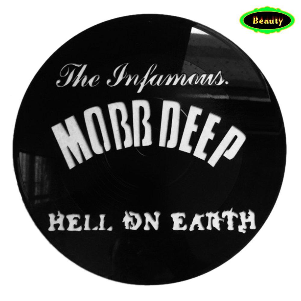 La famosa Mobb Deep Hell DN Earth Music Theme logo su un album record di vinile Wall Art decor- personalizzato pittura parete poster-30 x 30 cm nero rotondo Hollow art- 3D stampa da appendere alla parete Vinyl Revamped