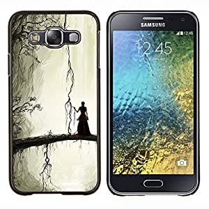 LECELL--Funda protectora / Cubierta / Piel For Samsung Galaxy E5 E500 -- Misteriosa chica --