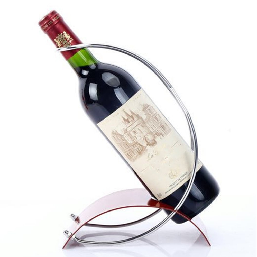 SUNBOR Tabletop Wine Rack Stainless Steel Curved Bottle Holder Red Moon Handcrafted Modern Art Home Decor Bar Accessory Unique Design Creative Gift Ornament