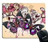 Smooffly Spring Wild Flower Mouse Pad for office, Romantic Purple Butterflies in Flowers Mouse Pad Personality Desings Gaming Mouse Pad 9.5X7.9 inches