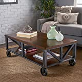 Black and Brown Wood Coffee Tables Dresden Industrial Dark Brown Faux Wood Coffee Table with Antique Black Iron Frame