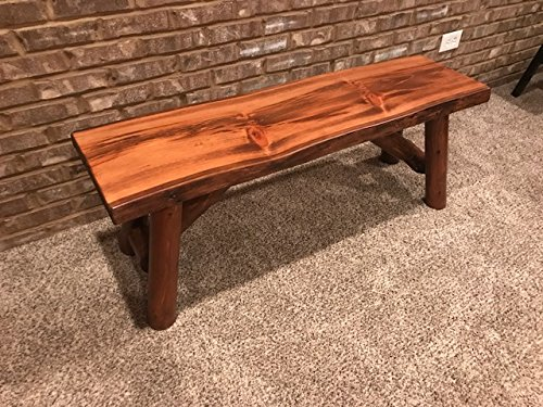 Rustic Log Bench Pine and Cedar with Live Edge Furniture 4 , Indoor Honey Pine