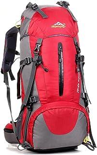 50L sac à dos d'alpinisme avec housse de pluie nylon léger sacoche portative pour camping randonnée voyageant à cheval H60 x L30 x T20 cm
