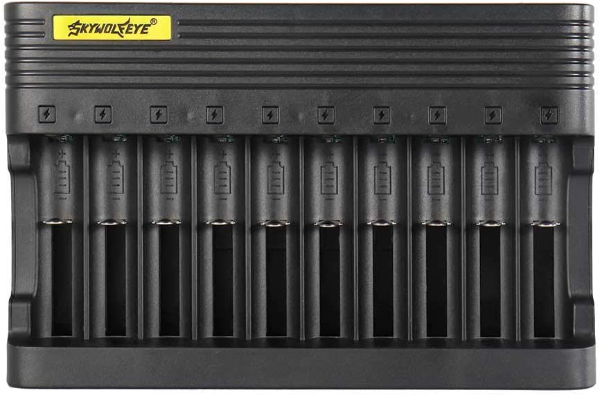 10 Slot 18650 Universal Smart Battery Charger for 3.7v Li-ion Rechargeable Batteries Compatible 18650 26650 14500 16340 18500 10440 18350 17670 Battery Charger