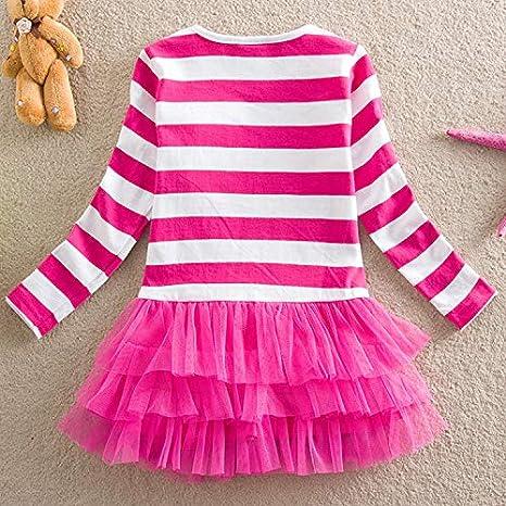 Uni-Wert Girls Dress Cartoon T-Shirt Princess Dress Baby Girls Stripe Long Sleeve Tutu Dress