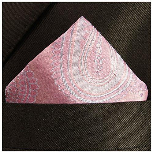 Paul Malone de carré de poche mouchoir 100% soie Rose paisley
