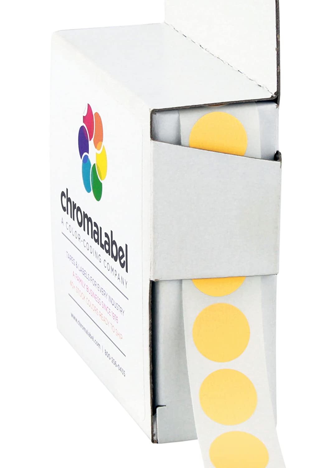 ChromaLabel 1/2 Inch Round Color Coding Labels | 1, 000/Box (Yellow) Chromalabel.com ACAL02280