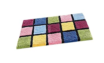 Badteppich Bunt Kariert Mehrfarbig 50x80 Cm Microfaser Amazon De