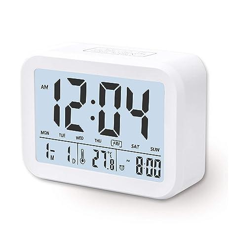 Arespark Despertador Digital Electrónico, Reloj Despertador con Alarma Luz de Noche, Pantalla LCD con