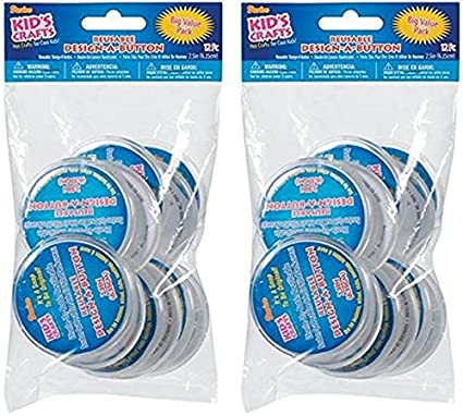 DARICE 2406-38BV-2PK One Package of 12 Pieces Design-A-Button 2-1/2