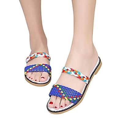 Ouneed® Damen Sandalen ,Damen Sommer Boho Casual Wedge Platform Thong Flip Flops Slip-On Flip Flops Strand Schwimmbad Hausschuhe Schuhe (36, Schwarz)