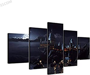 JESC Modular 5 Pieces School Castle Paintings Living Room Movie Posters Home Decor Printed Canvas Wall Art (30x50cmx2,30x70cmx2,30x80cmx1) (C, No Frame only Canvas) …