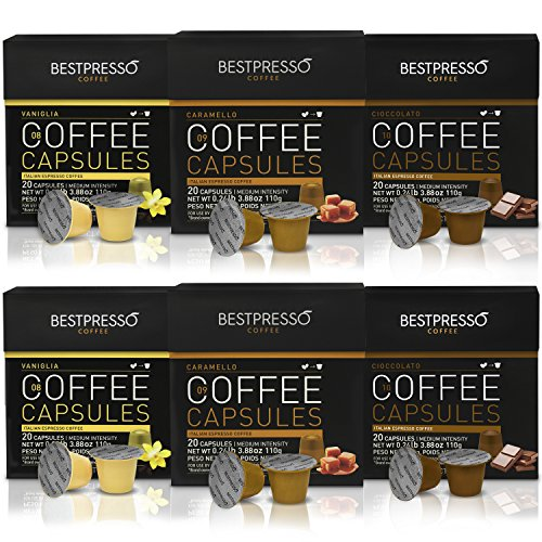 Nespresso Compatible Flavored Coffee Capsules-120 Pod Variety Pack Caramel,Vanilla&Chocolate-For Original Line Nespresso Machine-Certified Genuine Espresso By Bestpresso - 60 Days Guaranteee