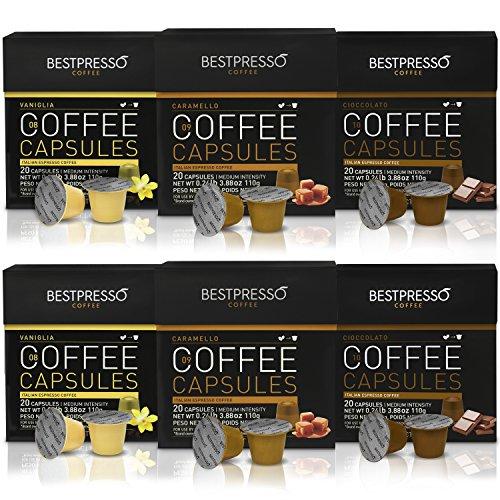 Bestpresso Coffee for Nespresso OriginalLine Machine 120 pods Certified Genuine Espresso Variety Pack Caramel,Vanilla&Chocolate, Pods Compatible with Nespresso OriginalLine