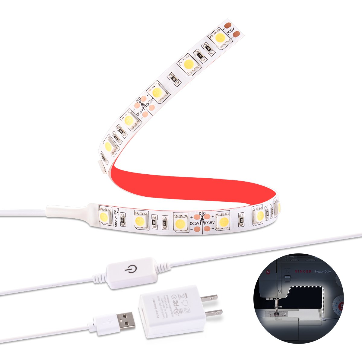 Sunix Sewing Machine LED Light, Strip Lighting kit with Touch Dimmer and USB Power, Natural White with Flexible 3M Adhesive Tape, Fits All Sewing Machines SU251