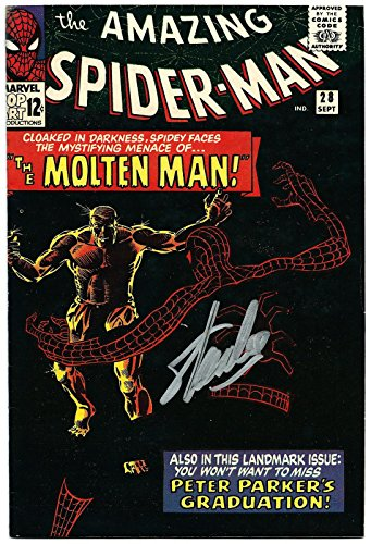 Stan Lee Hand Signed Spiderman #28 Comic Book Molten Man! Psa/dna Loa