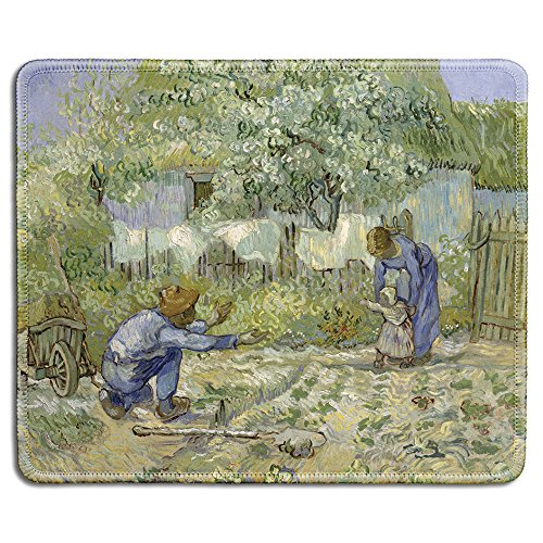 (dealzEpic - Art Mouse Pad - Natural Rubber Mousepad with Famous Fine Art Painting of First Steps by Vincent Van Gogh - Stitched Edges - 9.5x7.9 inches)