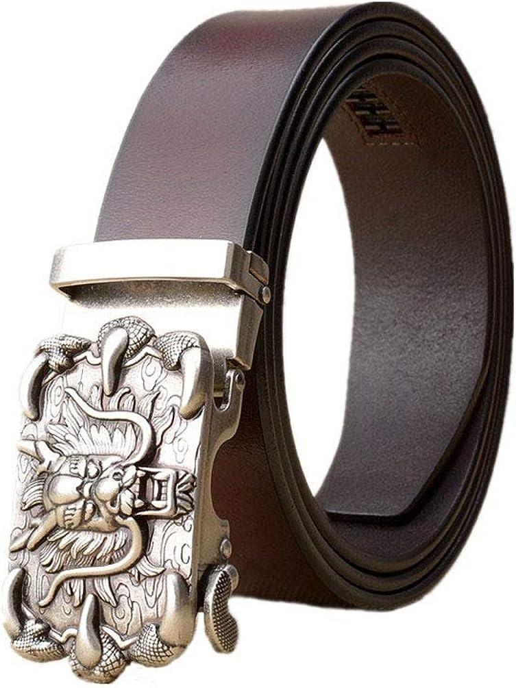 Dragon Head Automatic Buckle Belt Men Luxury Cowskin Leather Belts Fashion Business Casual Strap,Brownsilverbuckle,130Cm