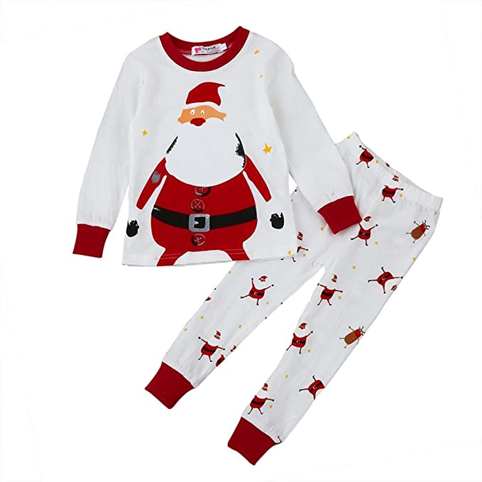 SMARTLADY 2-7 años Niño Navidad Pijama Camisetas + Pantalones, Santa Claus Patrón,