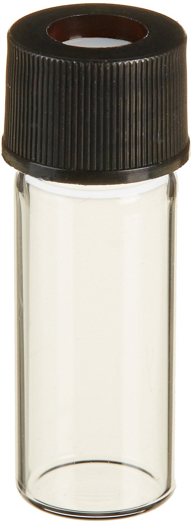 JG Finneran 801010T-1232 Borosilicate Glass Big Mouth Screw Thread Vial with Closure and 0.010'' Thick PTFE Septa, 2.0mL Capacity, 10-425mm Neck, 12mm Diameter, 32mm Height, Clear (Case of 100)