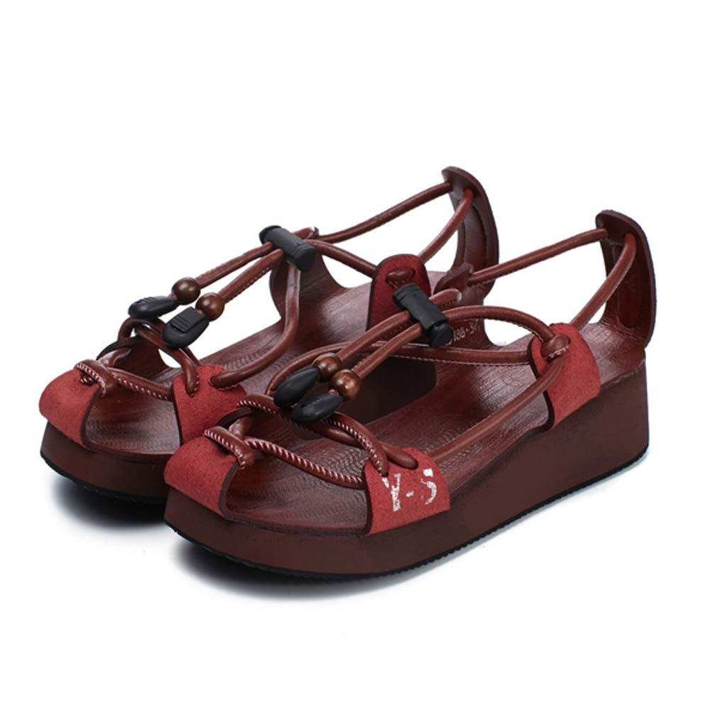 LIURUIJIA Elastic LIURUIJIASummer Elastic LIURUIJIA Band Genuine Leather Rome Flat Sandals Casual Vacation Beach Shoes Couple Shoes for Men and Women EU Size 36 - US B(M) 5.5|Women Wine Red B0792XTH8Z 301db8