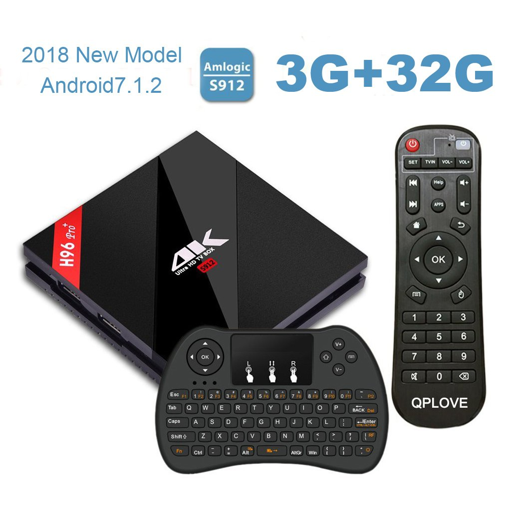 [ 3G 32GB TV Box + Wireless Keyboard ] H96 PRO+ Android 7.1 TV Box Amlogic S912 Octa core 64bit Support Dual-Band WiFi 2.4G/5.8G BT4.1 and 100M/1000M LAN ESTGOUS