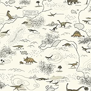 York Wallcoverings SB7744 Brothers and Sisters V Mesozoic Era Wallpaper, White/Tan/Black/Light Taupe/Grey