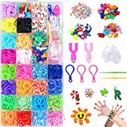 Rainbow Rubber Bands Kit Bracelet Making Kit DIY Band Refill Set Kids Loom Bands Kits with Storage Container 2