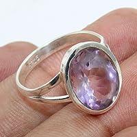 Anillos de plata para mujer,Natural Amethyst Handmade 925 Sterling Silver Ring Jewelry