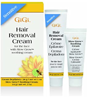 GiGi Facial Hair Removal Cream and Slow Grow Soothing Cream Set for Sensitive Skin