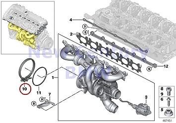 BMW auténtica engine-side Catalizador Cargador de Turbo abrazadera de tornillo D=135 mm 340i 340ix 740i 740ix: Amazon.es: Coche y moto