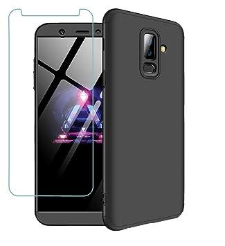 Funda Samsung A6+ case A6 Plus 2018 360 grados Negro Ultra delgado Todo incluido Caja del teléfono de la protección 3 en 1 case+Protectora de película ...