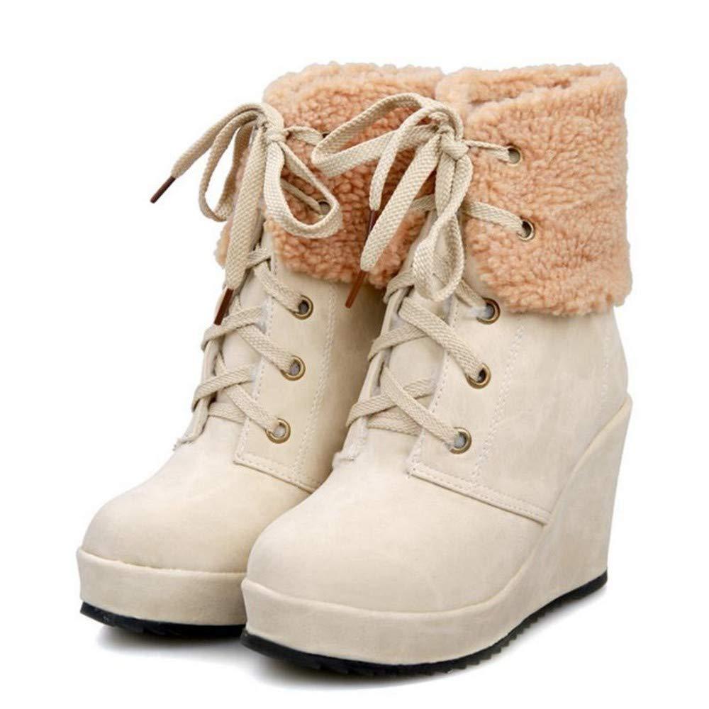PINGXIANNV PINGXIANNV PINGXIANNV Las Mujeres Calientan Las Botas De Cuña Zapatos De Invierno Mujer con Cordones Botines Moda Punta Redonda,39 10f296