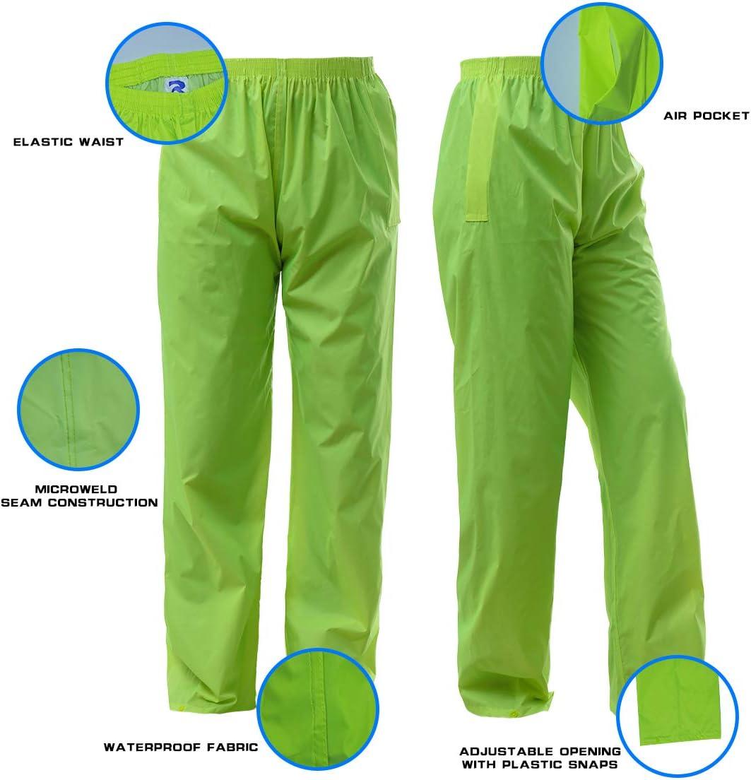 Rain Suit for Men Women Ultra-Lite Rain Gear Jacket Coat with Pants 3-Piece Portable Ripstop XXX-Large, Black