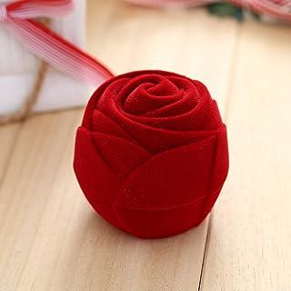 shelian Velvet Red Rose Engagement Wedding Earring Jewelry Display Storage Box Holder Lodestar