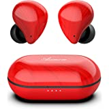 Asimom True Wireless Earbuds, Bluetooth V5.0, TWS Bluetooth Earphones Auto-Pair Wireless Headphones with High Definition Mic, Smart Touch,30H Playtime, for Gift Idea [Vibrant Red]