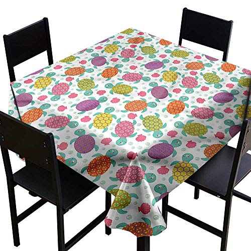home1love Aquarium Square Tablecloth Shells Oysters and Pearl Stain Resistant, Washable 60 x 60 Inch