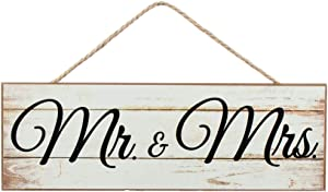 "GiftWrap Etc. Mr. & Mrs. Wooden Sign - 15"" x 5"", Wedding Centerpiece, Rustic White Wood Wall Decor, Just Married, Wreath, Swag, Garland, Home, Kitchen, Patio, Porch"