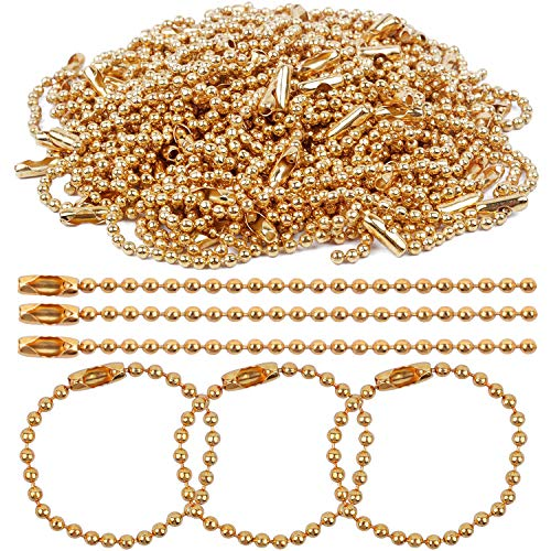 BronaGrand 100 Pieces Ball Chains, 100mm Long Bead Connector Clasp Tag Keychain Key Rings, 2.4 mm Diameter, Gold ()