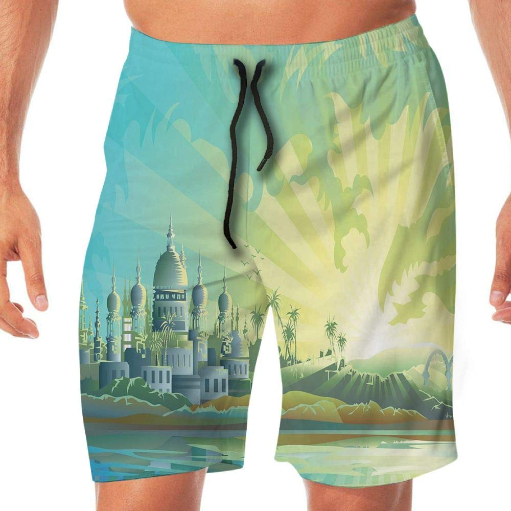 Haixia Men Casual Boardshorts Cityscape Ancient Town Historical Architect