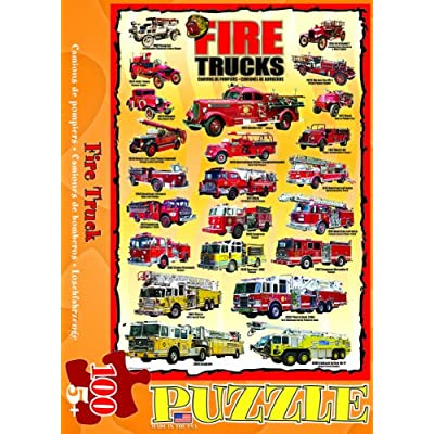 Fire Trucks 100 Piece Jigsaw Puzzle: Toys & Games