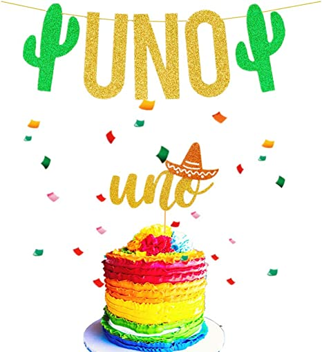 Phenomenal Amazon Com Jevenis Set Of 2 Uno Cake Topper Uno Banner Fiesta Birthday Cards Printable Benkemecafe Filternl