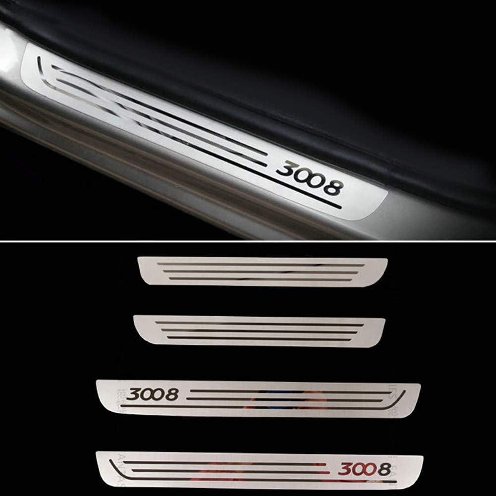 LSYBB Accessoires De Voiture De Plaque De Seuil De Seuil De Porte en Acier Inoxydable 4 Pi/èCes pour Peugeot 3008 2009-2016