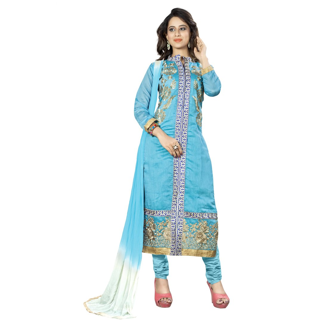 eda72741990 Sainoor Women S Sky Blue Colour Embroidered Dress Material (2.25 M)   Amazon.in  Clothing   Accessories
