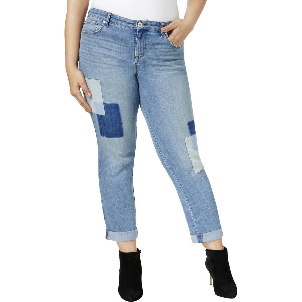 Style & Co. Womens Plus Size Patchwork Curvy Boyfriend Jeans 22W Disco