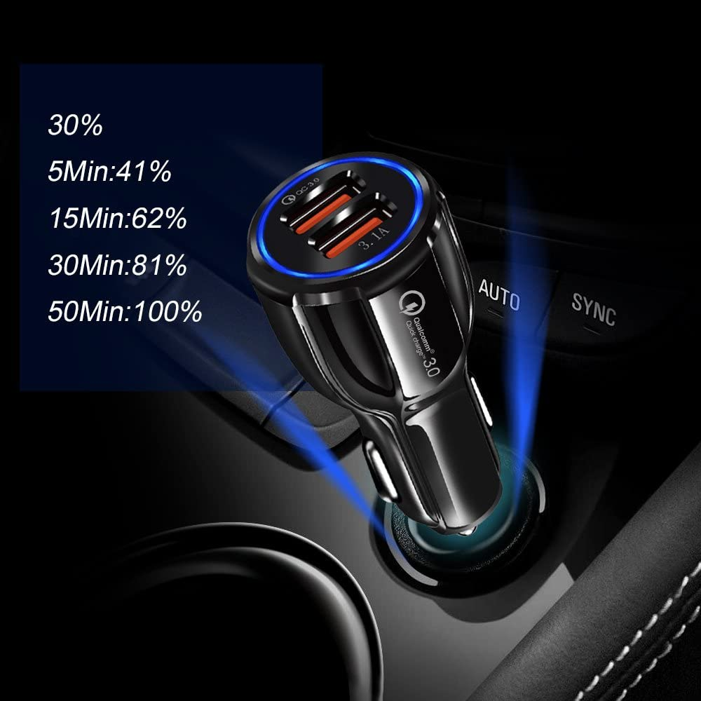 Protects Against Overcharging and Overheating 4X Faster Charging Certified by CE 3.2 x 7.8cm Black Universal Compatibility RoHS 2 USB Ports ACAR USB Car Charger Qualcomm QC 3.0 and FCC