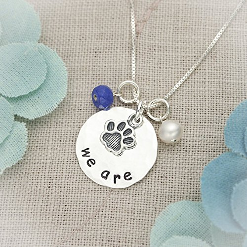 (Penn State Necklace, We Are Necklace, Thon Jewelry, Pennsylvania State University Necklace, Graduation Gift, Paw Necklace, Hand Stamped Jewelry)
