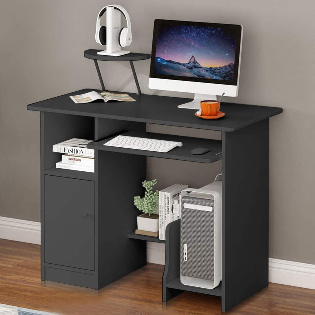 KAGG 35.4'' Computer Laptop Desk with Drawer Shelf, Modern Writing PC Table with Mainframe Rack, Working Laptop Writing Study Table Workstation for Home (Black, 35.4(L)×18.9(W)×28.3(H) inches)